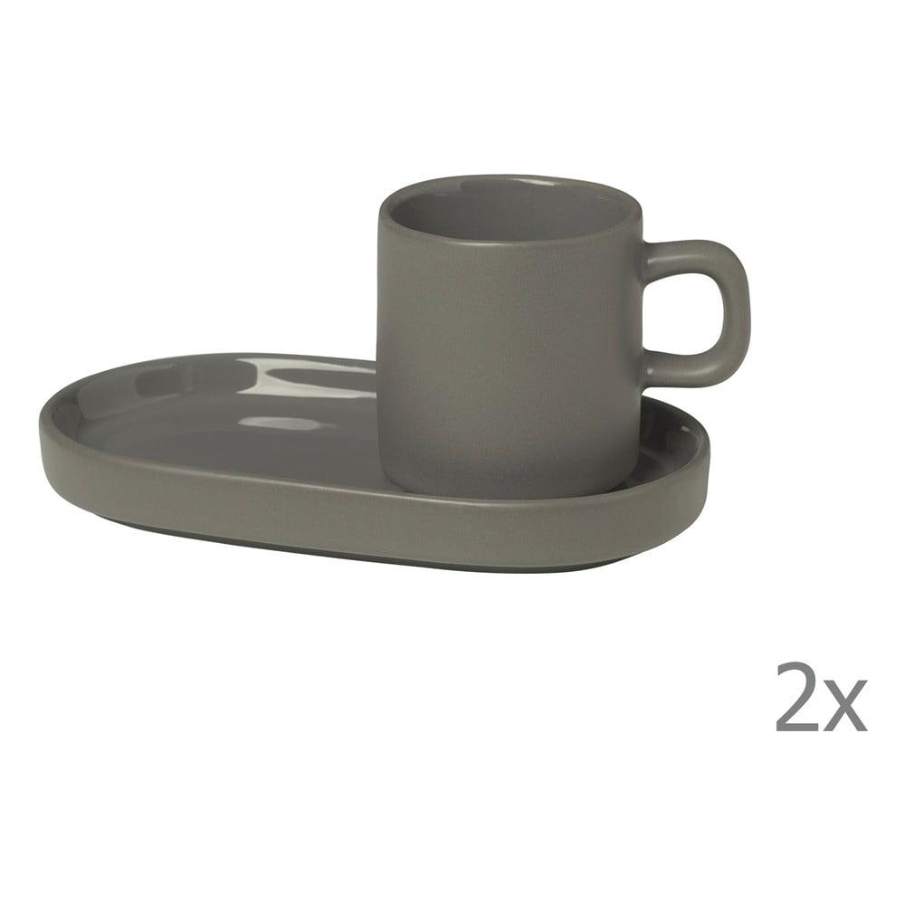Sada 2 sivých hrnčekov na espresso s tanierikmi Blomus Pilar, 50 ml