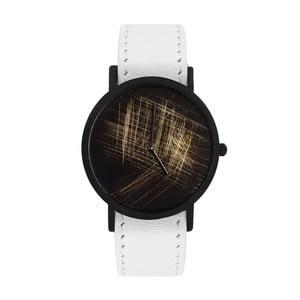 Unisex hodinky s bielym remienkom South Lane Stockholm Avant Gold Scratch
