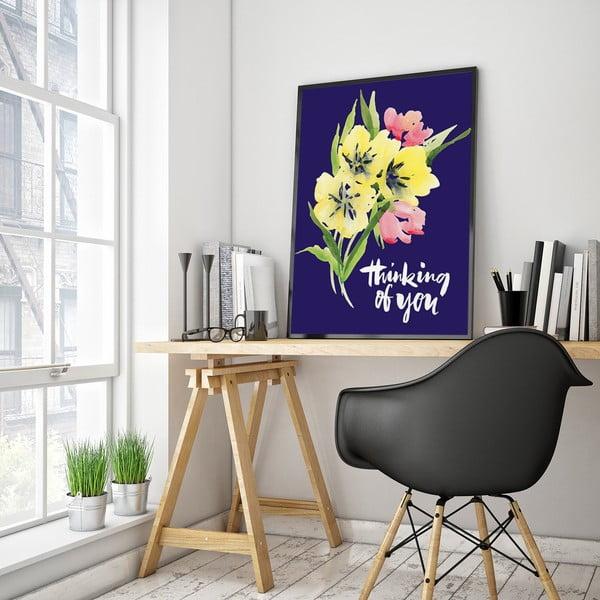 Plagát s kvetmi Thinking Of You, modré pozadie, 30 x 40 cm
