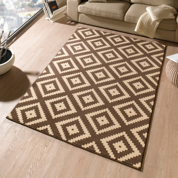 Hnedý koberec Hanse Home Hamleti Diamond, 80x300cm