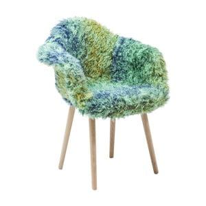 Zeleno-modrá jedálenská stolička s poťahom z umelej kožušiny Kare Design Eyti