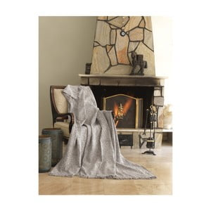 Béžová bavlnená deka mismo Linen, 170×220 cm