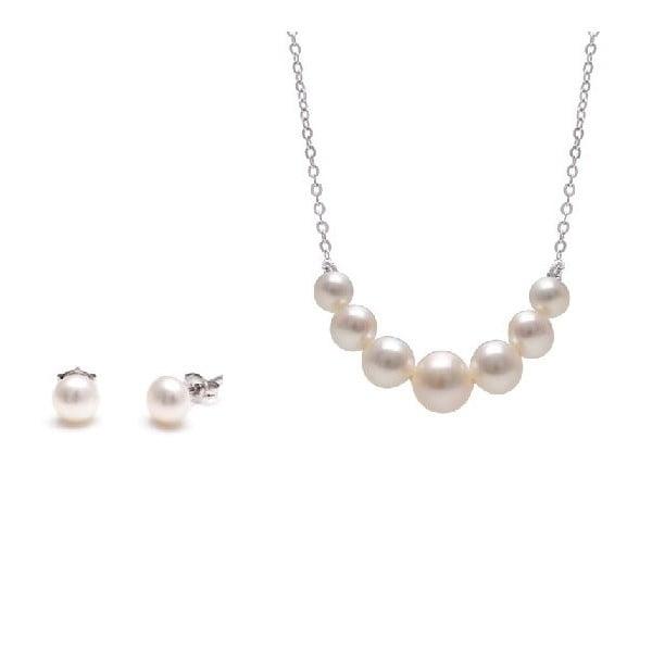 Sada náhrdelníka a náušníc z riečnych perál GemSeller Spicata, biele perly