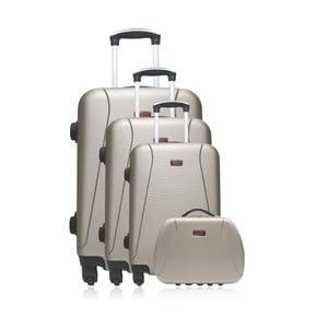 Sada 4 cestovných kufrov v zlatej farbe na kolieskach Hero Lanzarote-C