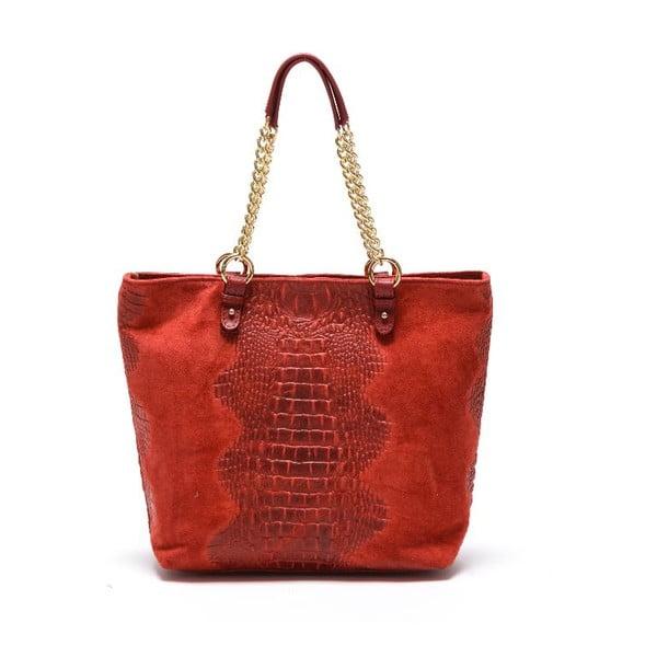Kožená kabelka Carla Ferreri 863 Rosso