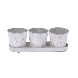Set 3 kovových nádob s podnosom Flower