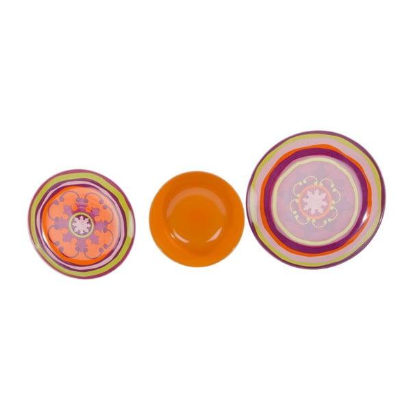 Sada 18 ks keramických tanierov Zafaf Orange