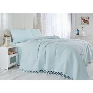 Modrá ľahká prikrývka cez posteľ Light, 220x240cm