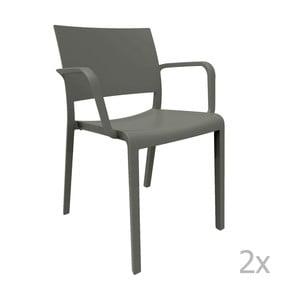 Sada 2 tmavosivých záhradných stoličiek sopierkami Resol Fiona