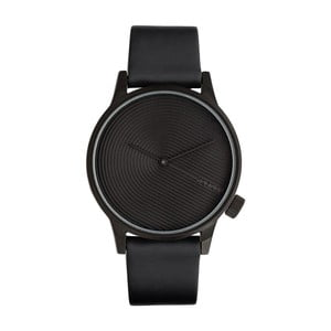 Pánske čierne hodinky s koženým remienkom Komono Deco
