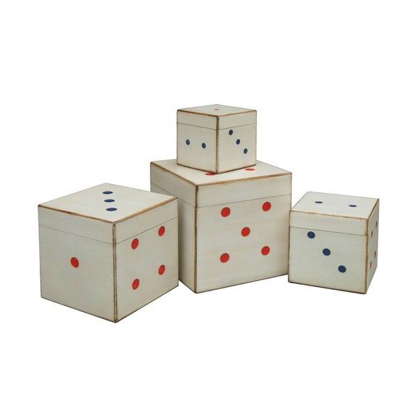 Sada 4 úložných boxov Dice