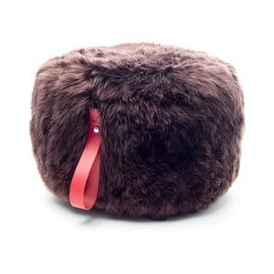 Hnedo-červený okrúhly puf z ovčej vlny Royal Dream