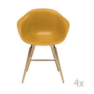 Sada 4 žltých jedálenských stoličiek s podnožou z bukového dreva Kare Design Forum