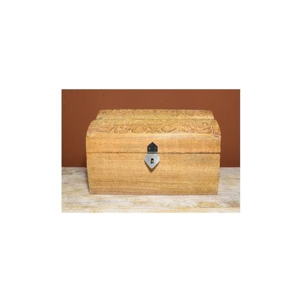 Drevená truhlica s vyrezávaným poklopomIndia