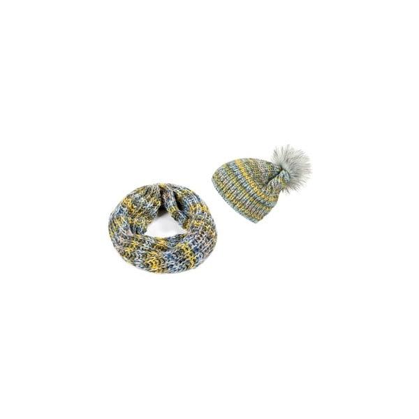 Čiapka so šálom Yellow Ombre