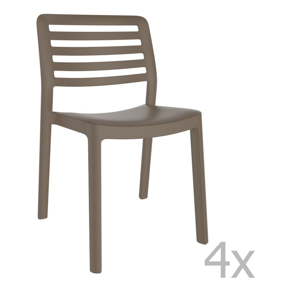 Sada 4 čokoládovohnedých záhradných stoličiek Resol Wind