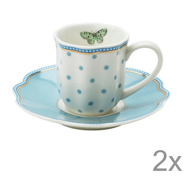 Porcelánová šálka na espresso s tanierikom Minitie od Lisbeth Dahl, 2 ks