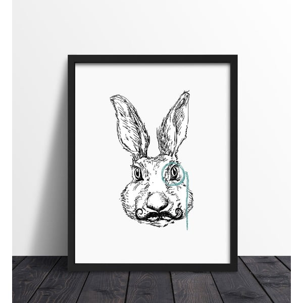 Zarámovaný plagát We Love Home Hipster Rabbit, 40 x 50 cm