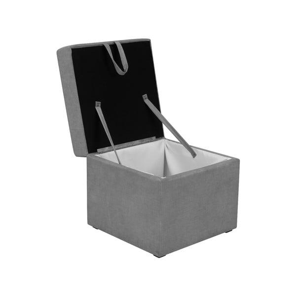 Sivá taburetka s úložným priestorom KICOTI Cube