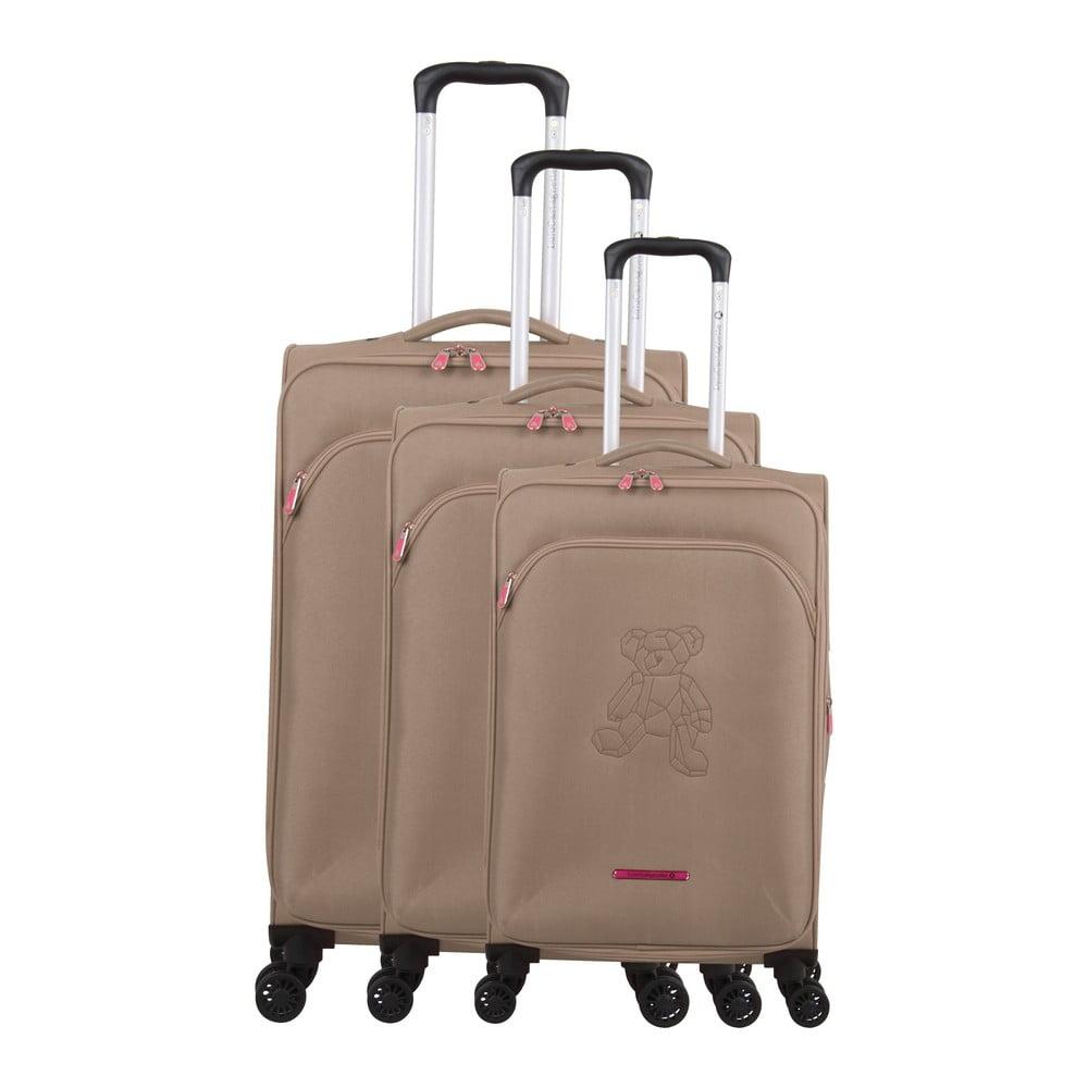 Sada 3 béžových kufrov na 4 kolieskach Lulucastagnette Emilia