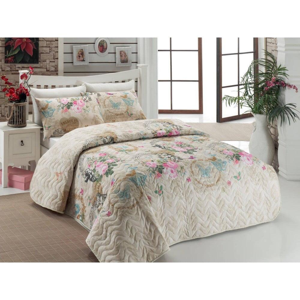 Sada prikrývky cez posteľ a vankúša Angel Beige, 160 × 220 cm