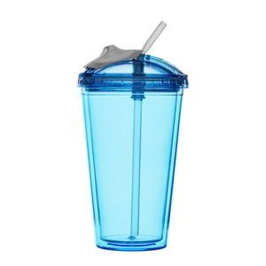 Hrnček so slamkou na smoothie Sagaform, modrý