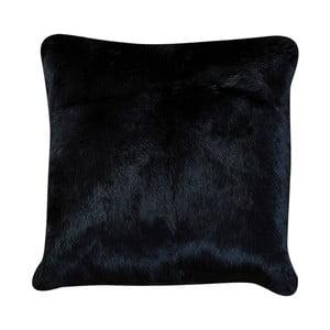Čierny vankúš z králičej kože Pipsa Pennio, 40×40 cm
