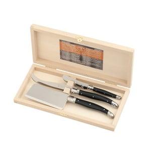 3-dielna sada čiernych nožov na syry v drevenom balení Jean Dubost