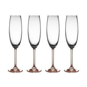 Sada 2 pohárov na sekt z ružového krištáľového skla Bitz Fluidum, 220 ml