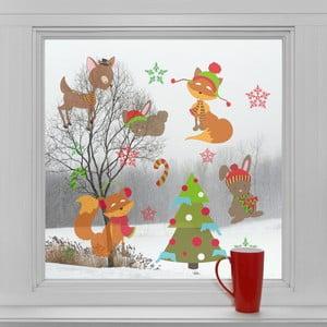 Elektrostatické vianočné samolepky Vianočný les