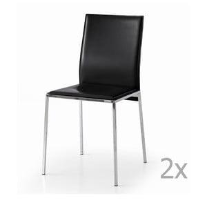 Sada 2 čiernych jedálenských stoličiek Castagnetti Fax