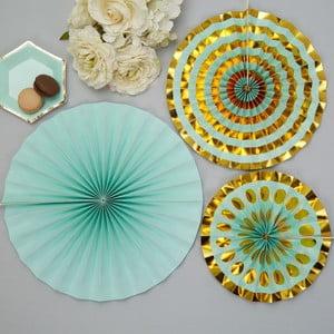 Sada 3 papierových dekorácií Neviti Mint Colour Block Marble