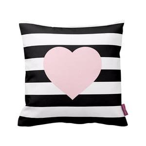 Čierno-biely vankúš Stripes Pink, 43x43cm