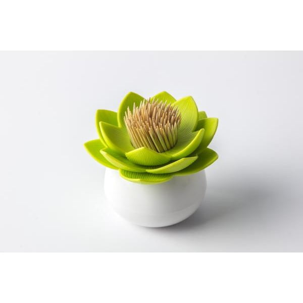Stoján na špáradlá QUALY Lotus Toothpick, biely-zelený