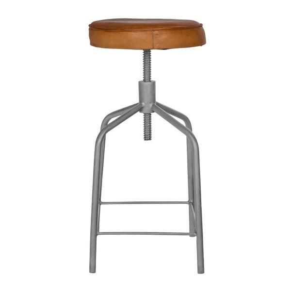 Kovová stolička s koženým sedákem De Eekhroon Nouk