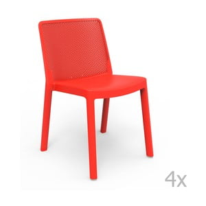 Sada 4 červených záhradných stoličiek Resol Fresh