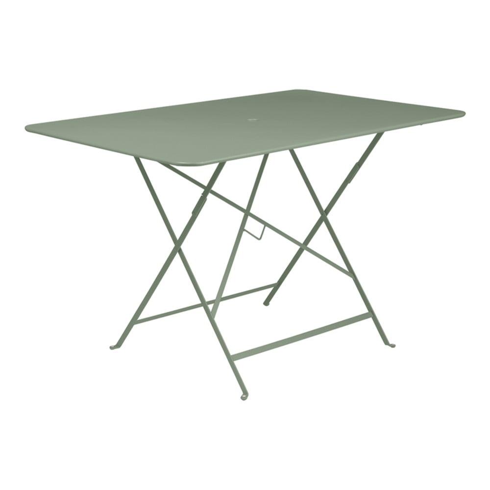 Sivozelený skladací záhradný stolík Fermob Bistro, 117 × 77 cm