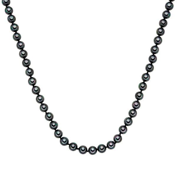 Perlový náhrdelník Muschel, antracitové perly 8 mm, dĺžka 50 cm