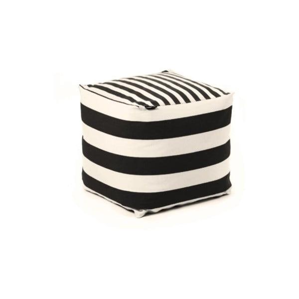 Puf na sedenie Lona, čierne a biele proužky