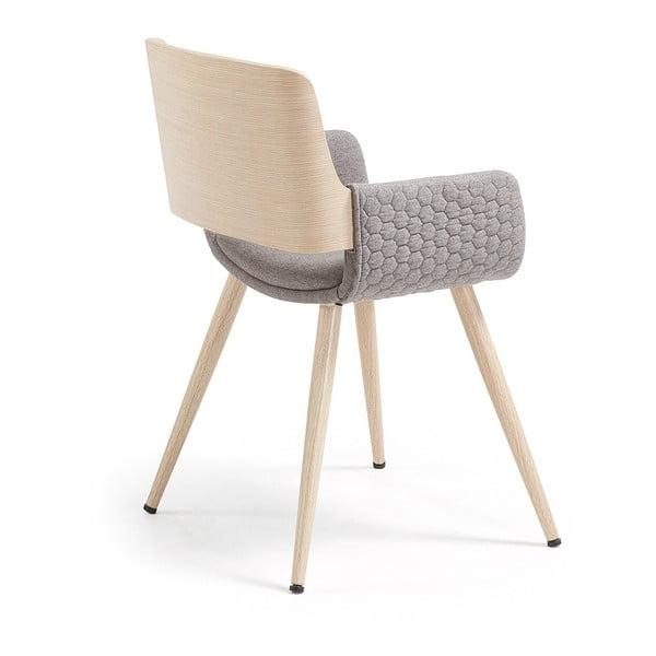 Sivá stolička s drevenou podnožou a opierkami La Forma Andre