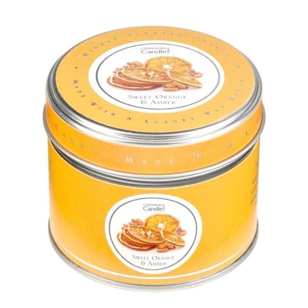 Aromatická sviečka v plechovke s vôňou pomaranča a jantáru Copenhagen Candles, doba horenia 32 hodín