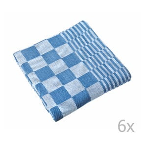 Sada 6 modrých utierok Tiseco Home Studio Mineur, 65 × 65 cm