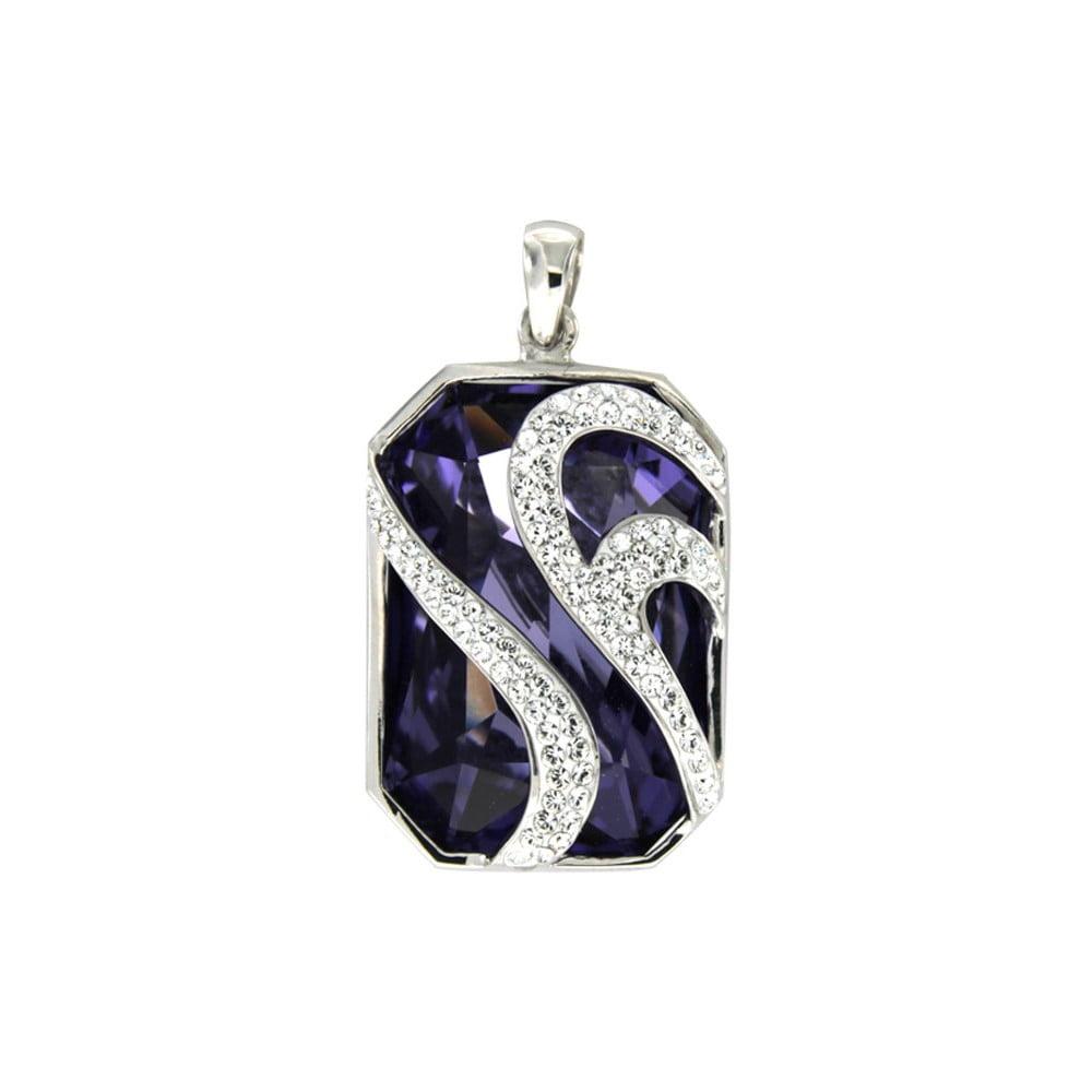 Strieborný prívesok s fialovými krištáľmi Swarovski Elements Crystals Violet 2c8020e84ad