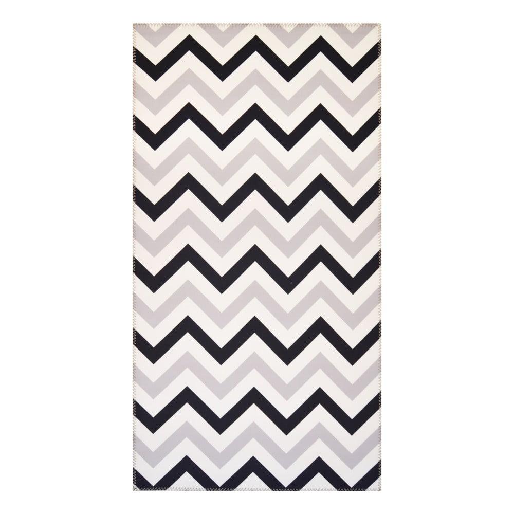 Čiernobiely koberec Vitaus Olivia, 80 x 150 cm