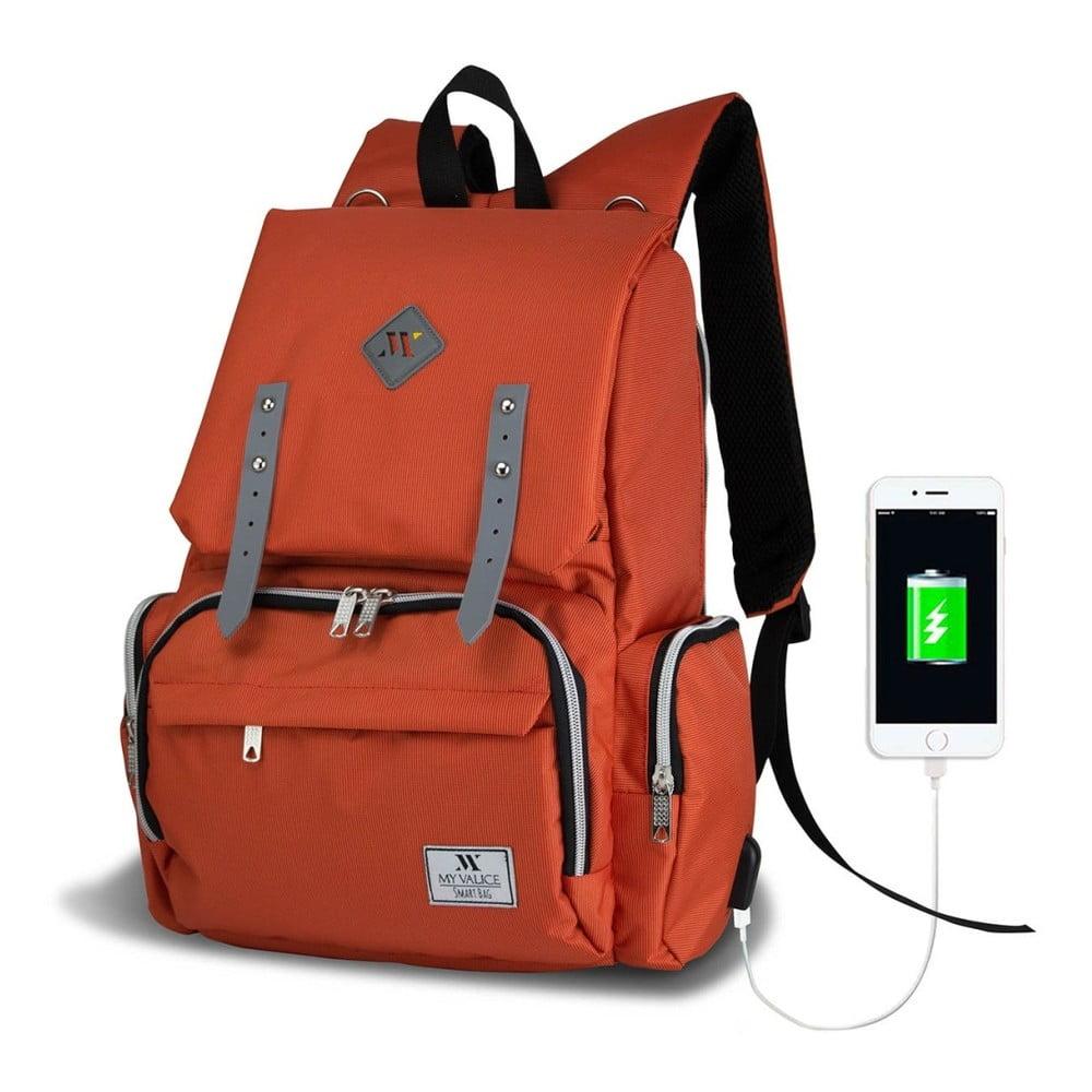 Oranžový batoh pre mamičky s USB portom My Valice MOTHER STAR Baby Care Backpack