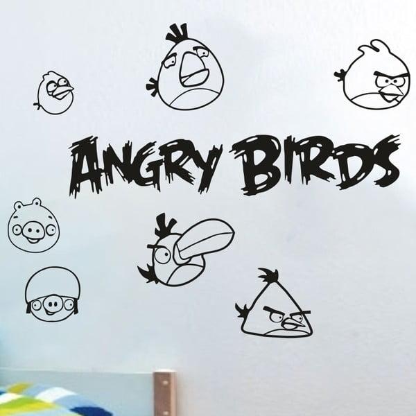 Samolepka na stenu Angry birds, čierna SK