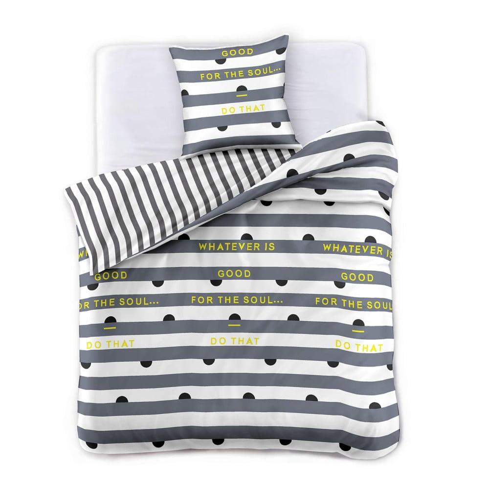 Obliečky z bavlneného saténu DecoKing Whatever, 135 × 200 cm + obliečky na vankúš 80 × 80