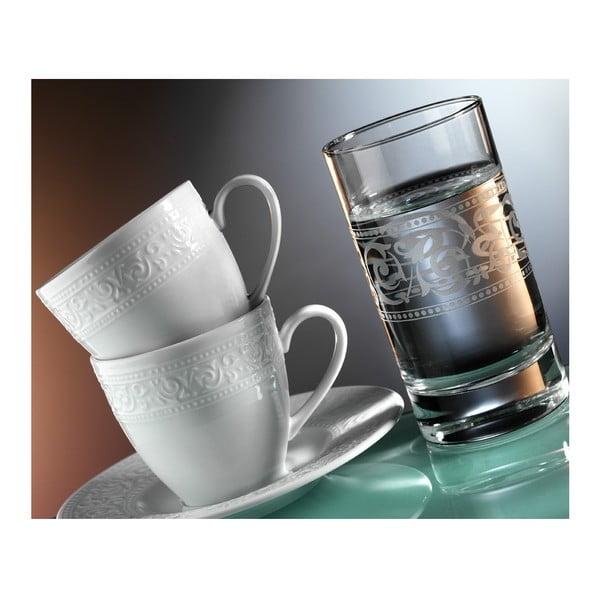 Sada šálok na kávu a pohárov Elegance, 12 ks