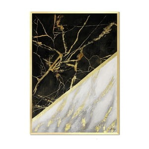 Nástenný ručne maľovaný obraz JohnsonStyle White & White Marble, 53 x 73 cm