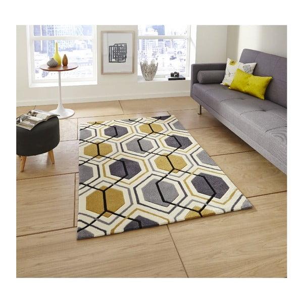 Koberec Hongkong Yellow Gray, 120x170 cm